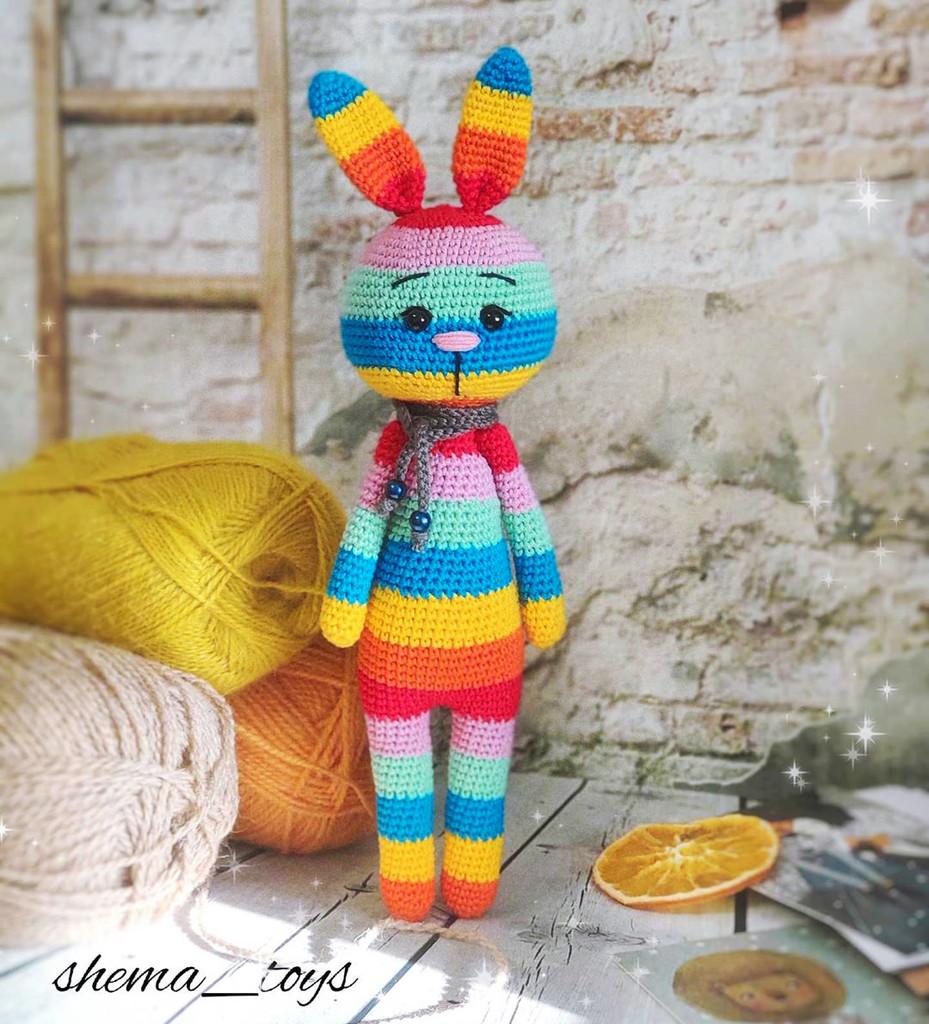 Радужный заяц, фото, картинка, схема, описание, бесплатно, крючком, амигуруми