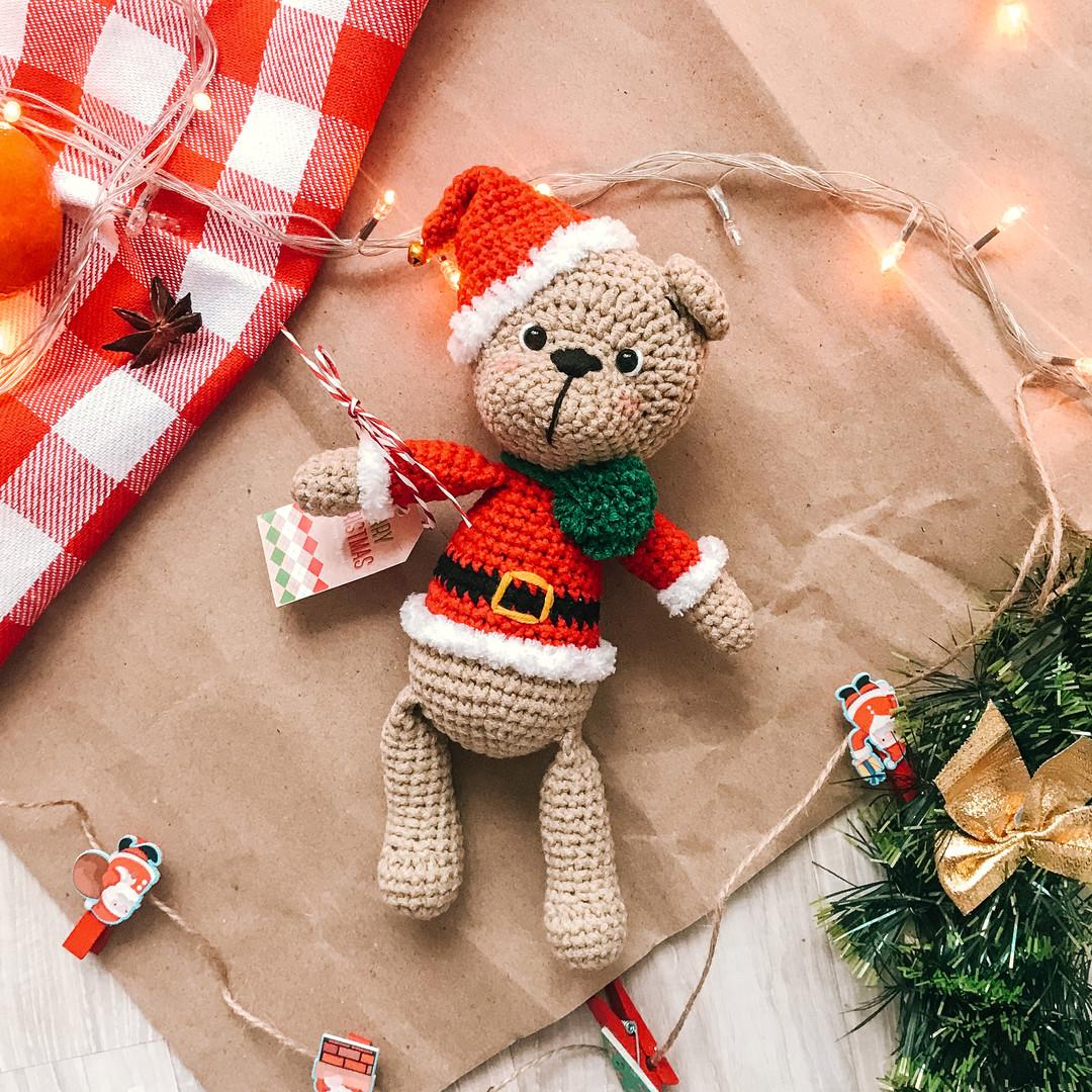 Рождественский Мишка, фото, картинка, схема, описание, бесплатно, крючком, амигуруми