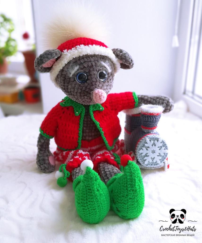 Рождественский мышь, фото, картинка, схема, описание, бесплатно, крючком, амигуруми