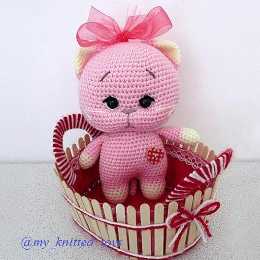 Розовый котёнок, фото, картинка, схема, описание, бесплатно, крючком, амигуруми