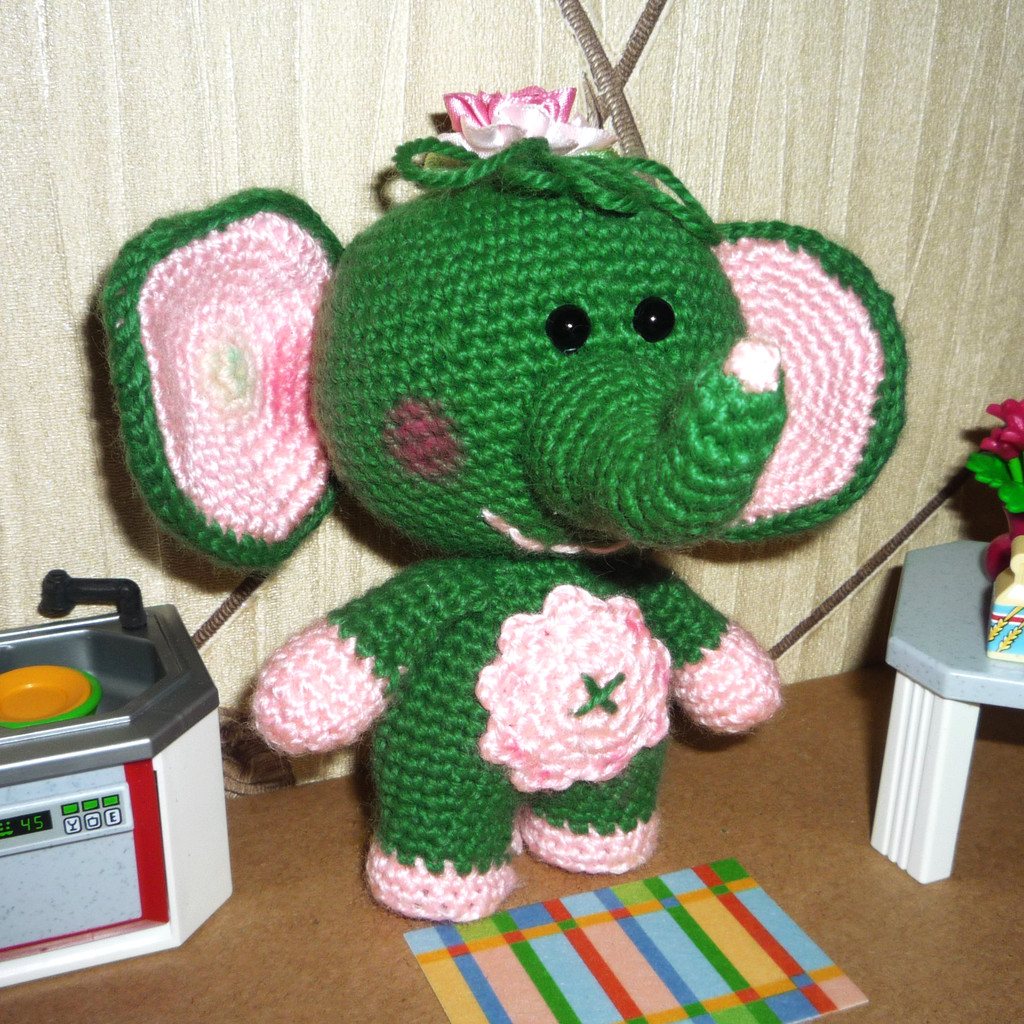 Слонёнок Сонечка, фото, картинка, схема, описание, бесплатно, крючком, амигуруми