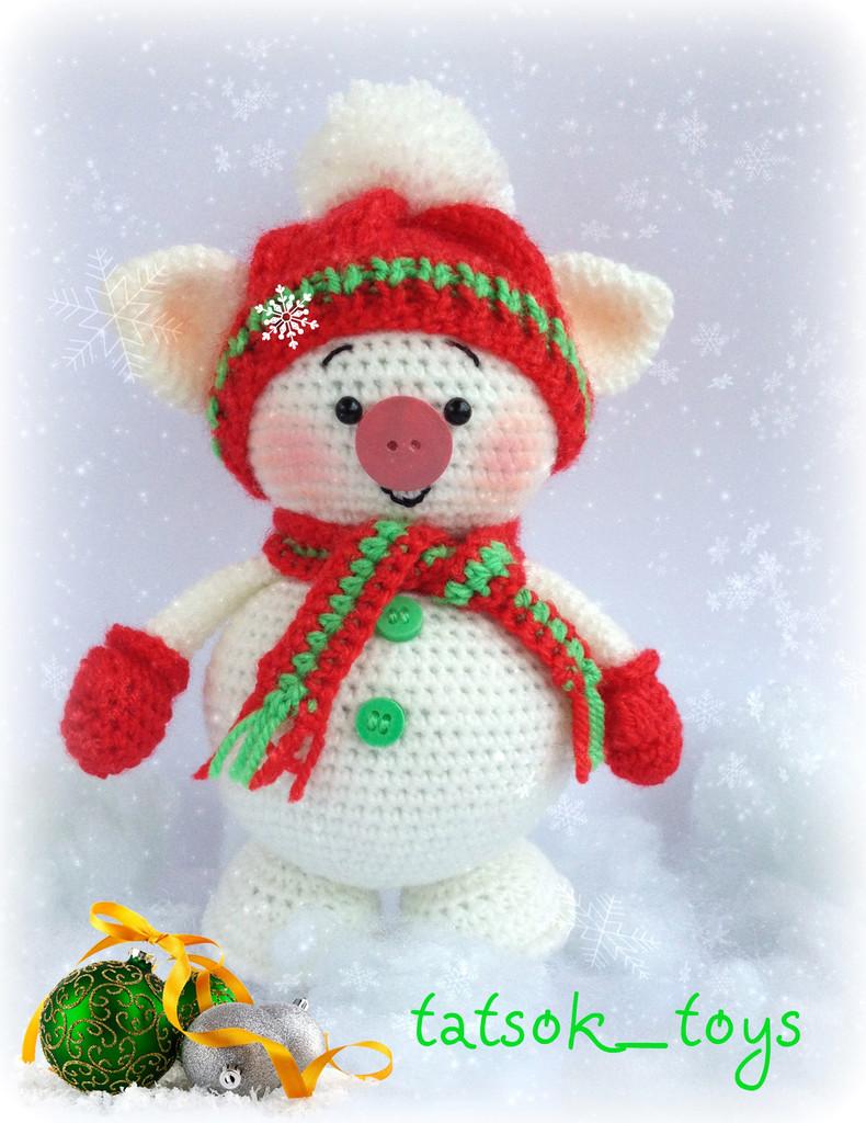 Снегохрюн, фото, картинка, схема, описание, бесплатно, крючком, амигуруми