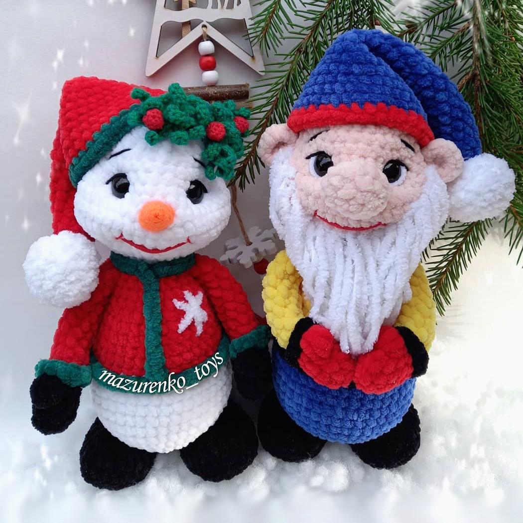 Снеговичок и Гномик, фото, картинка, схема, описание, бесплатно, крючком, амигуруми