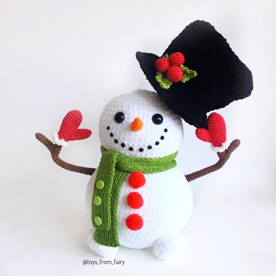 Снеговик в цилиндре, фото, картинка, схема, описание, бесплатно, крючком, амигуруми