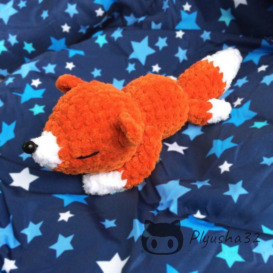 Спящий лисёнок, фото, картинка, схема, описание, бесплатно, крючком, амигуруми
