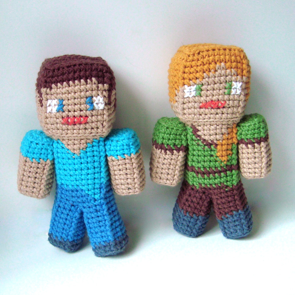 Стив, Алекс и Зомби из Майнкрафта, фото, картинка, схема, описание, бесплатно, крючком, амигуруми