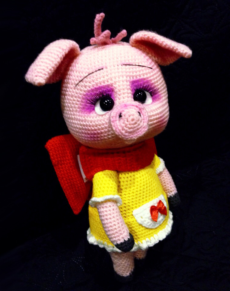 Свинка Ася, фото, картинка, схема, описание, бесплатно, крючком, амигуруми