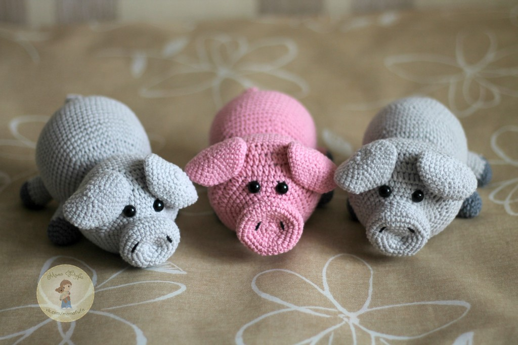 Свинка-лежебока, фото, картинка, схема, описание, бесплатно, крючком, амигуруми
