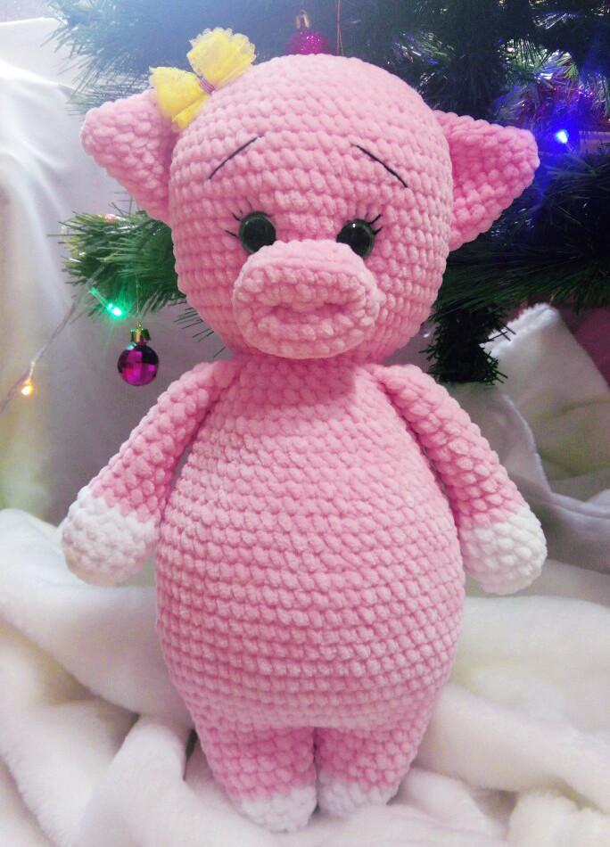 Свинка Розочка, фото, картинка, схема, описание, бесплатно, крючком, амигуруми