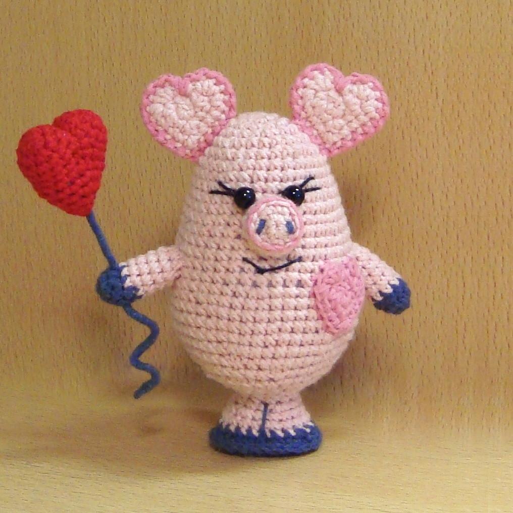 Свинка Валентинка, фото, картинка, схема, описание, бесплатно, крючком, амигуруми