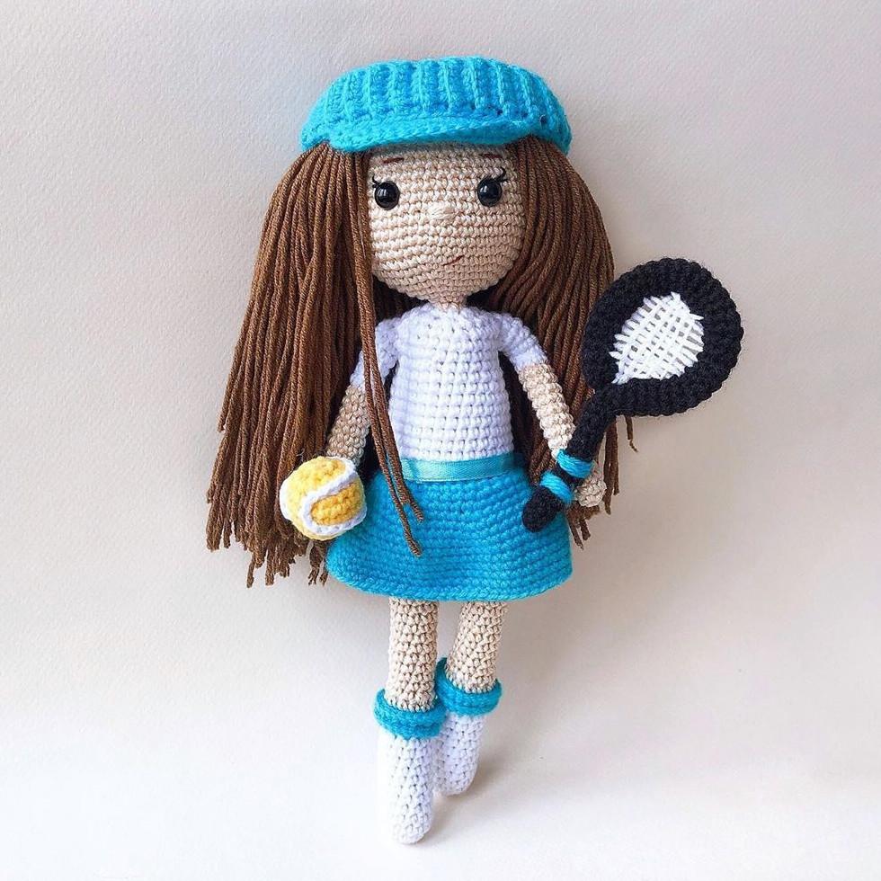 Теннисистка Эва, фото, картинка, схема, описание, бесплатно, крючком, амигуруми