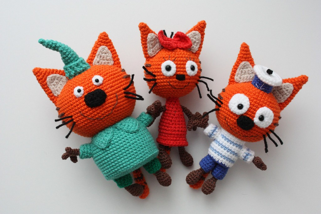 Три кота, фото, картинка, схема, описание, бесплатно, крючком, амигуруми