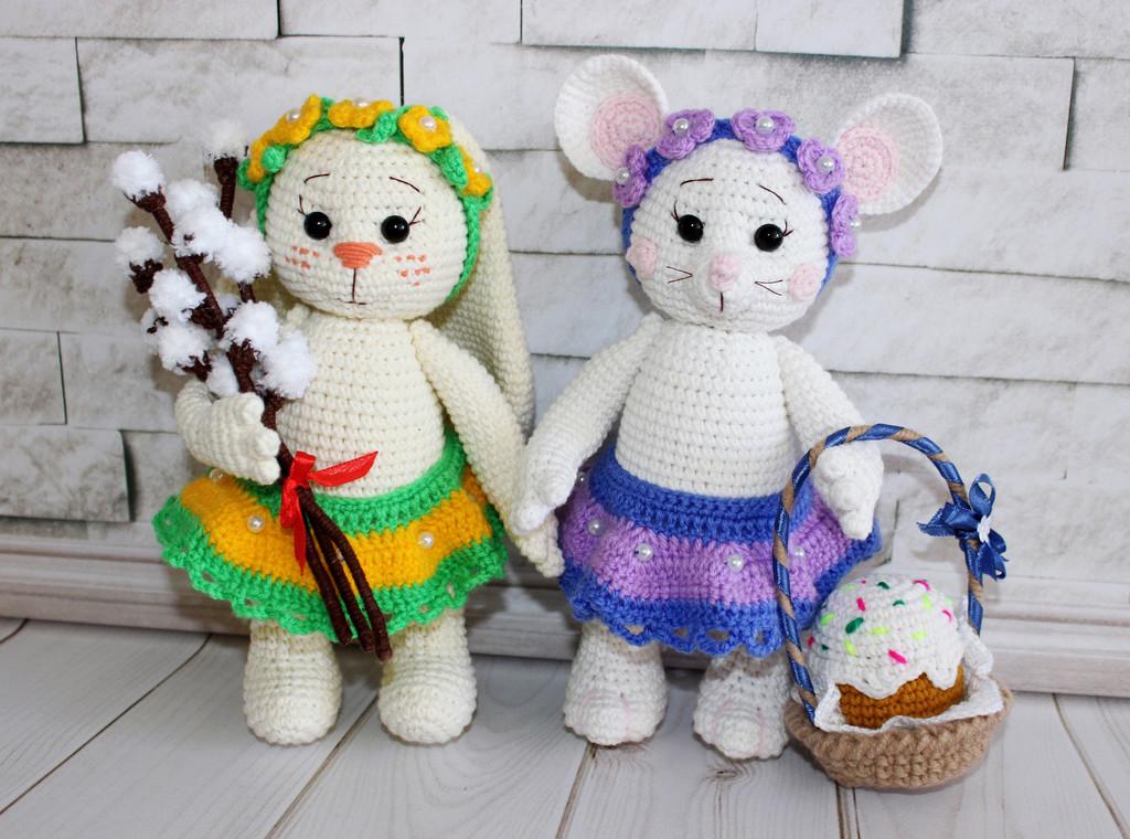 Весенние Зайка и Мышка, фото, картинка, схема, описание, бесплатно, крючком, амигуруми