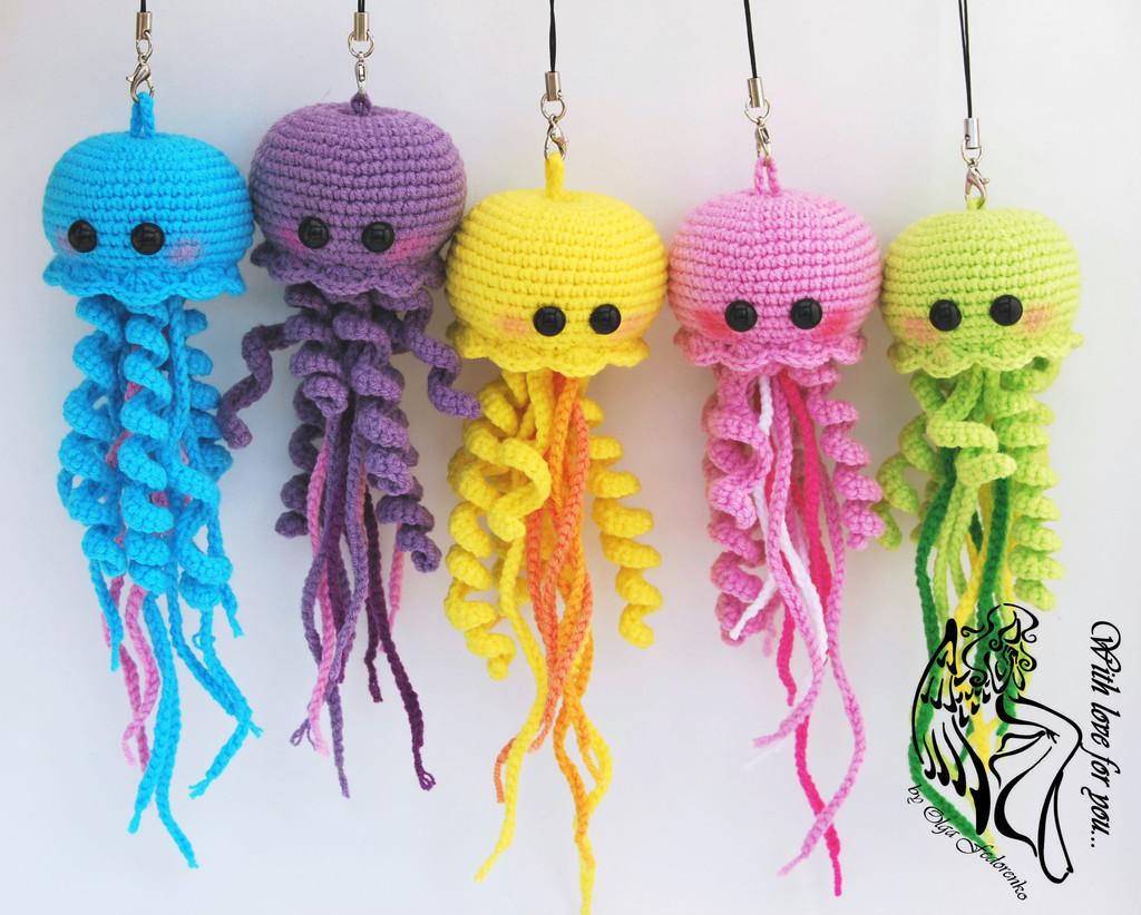 Весёлые медузы, фото, картинка, схема, описание, бесплатно, крючком, амигуруми