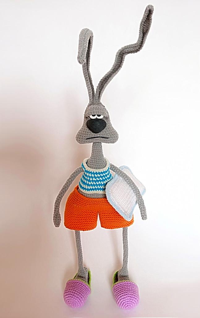 "Заяц ""Доброе утро..?"", фото, картинка, схема, описание, бесплатно, крючком, амигуруми"
