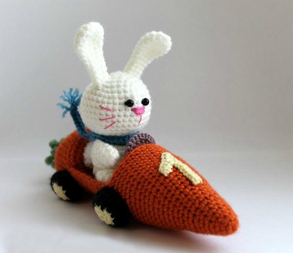 Заяц на морковкомобиле, фото, картинка, схема, описание, бесплатно, крючком, амигуруми