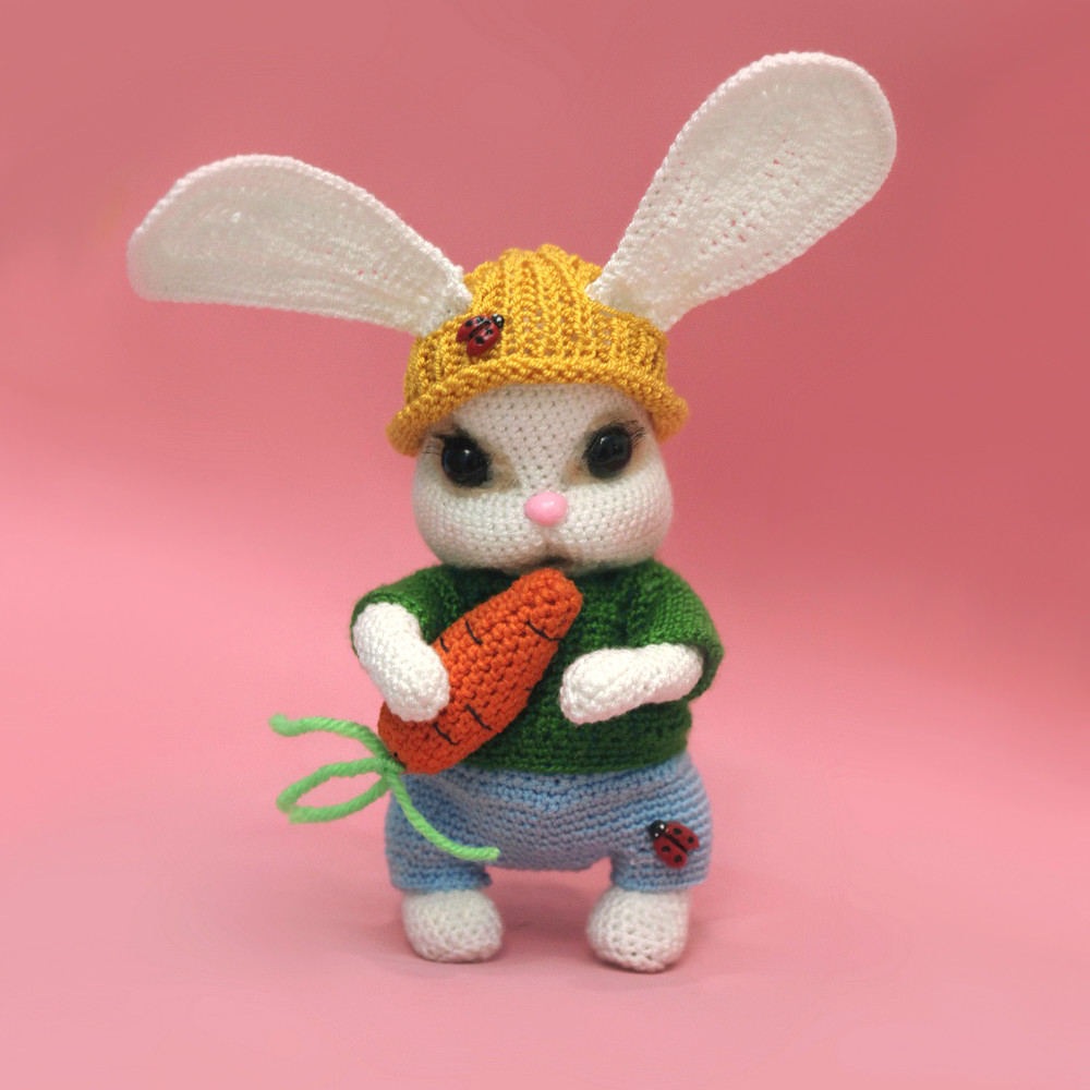 Зайчик с морковкой, фото, картинка, схема, описание, бесплатно, крючком, амигуруми