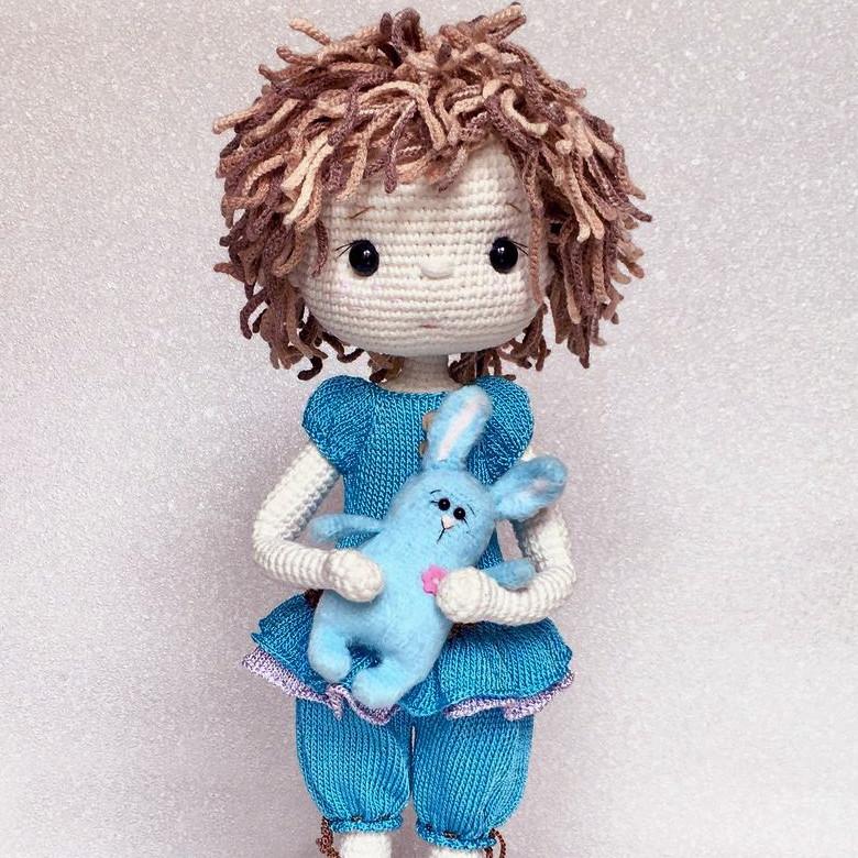 Зайка для куклы, фото, картинка, схема, описание, бесплатно, крючком, амигуруми