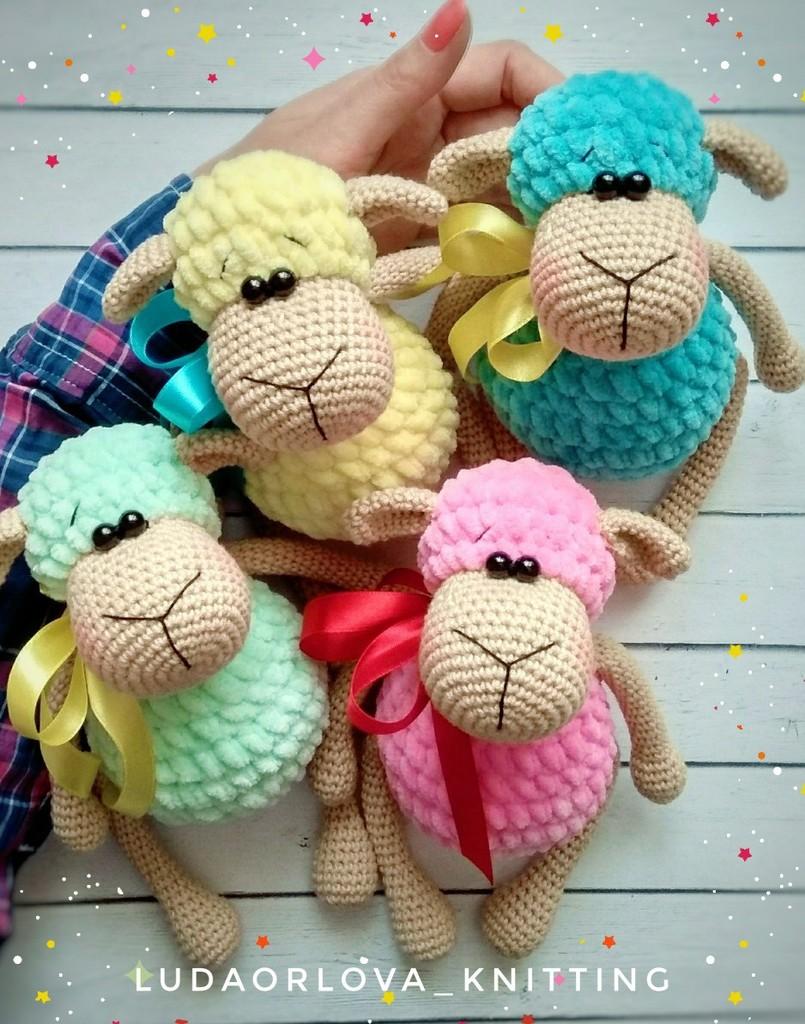 Зефирные овечки, фото, картинка, схема, описание, бесплатно, крючком, амигуруми