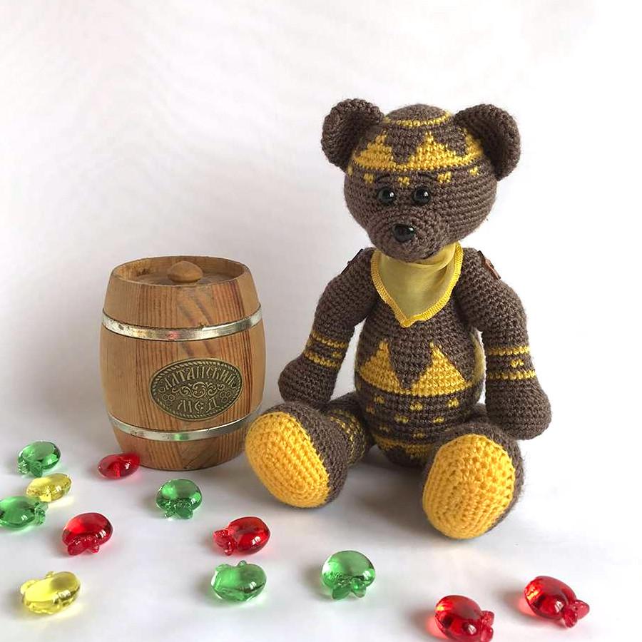 Жаккардовый Мишка, фото, картинка, схема, описание, бесплатно, крючком, амигуруми