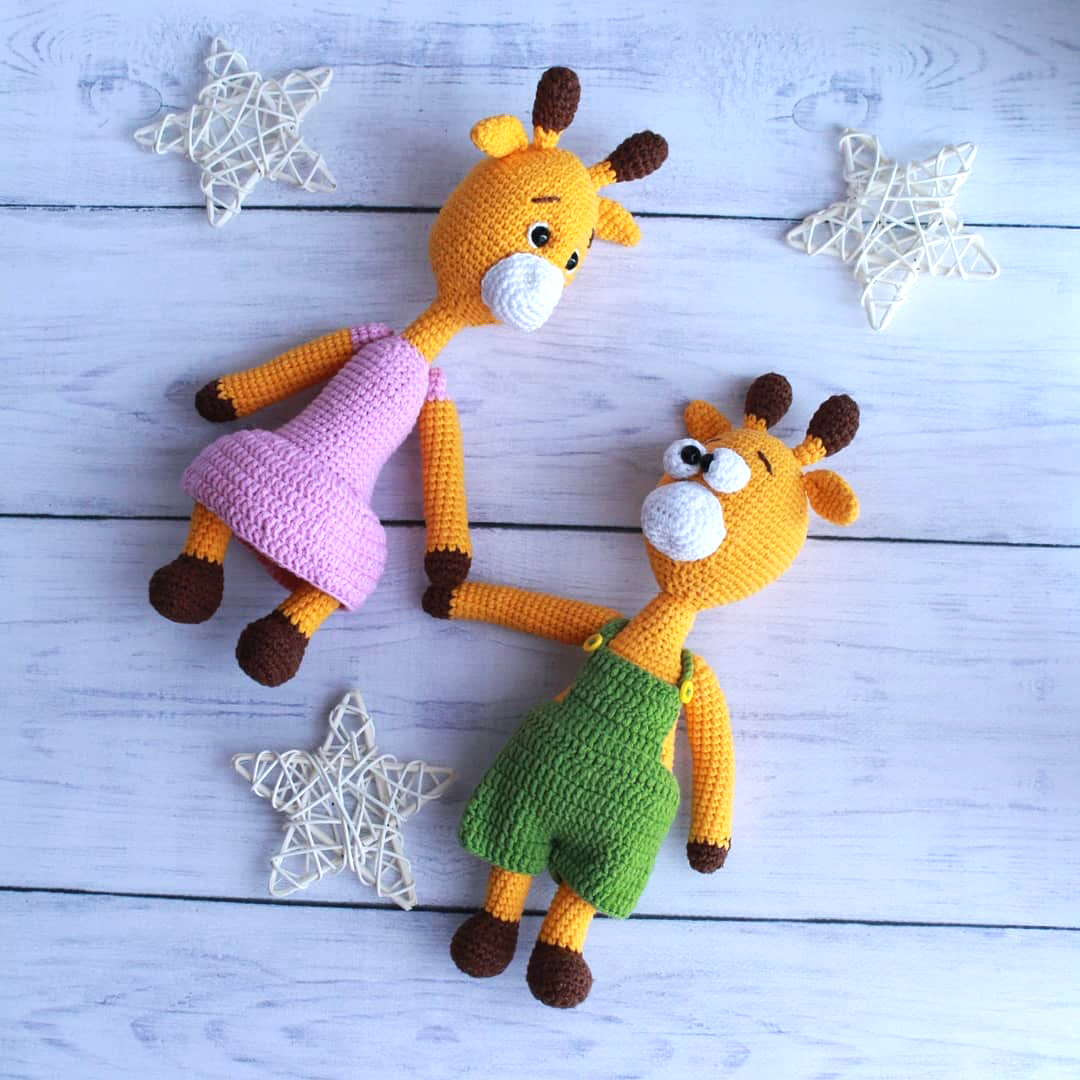 Жираф Жорик и жирафка Жозефина, фото, картинка, схема, описание, бесплатно, крючком, амигуруми