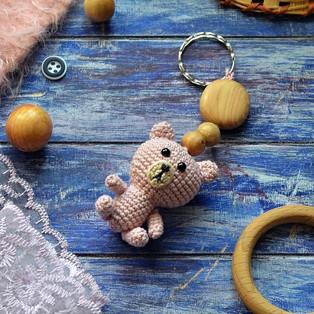 "PDF Брелок ""Мишка"" схема вязаной игрушки крючком"