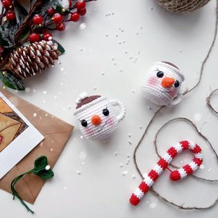 PDF Чашечка снеговик схема вязаной игрушки крючком