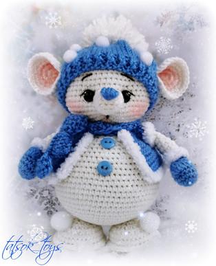 PDF Кавалер для Снегомышки схема вязаной игрушки крючком