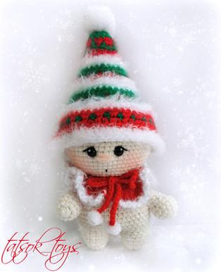 PDF Малыш-гномик рождественский схема вязаной игрушки крючком