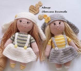 PDF Малышки-сестрички схема вязаной игрушки крючком
