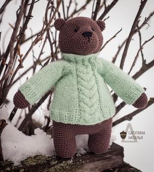 PDF Медведь Мороша схема вязаной игрушки крючком