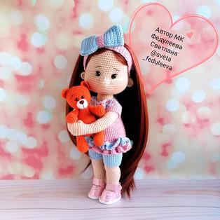 PDF Мишка для куклы схема вязаной игрушки крючком