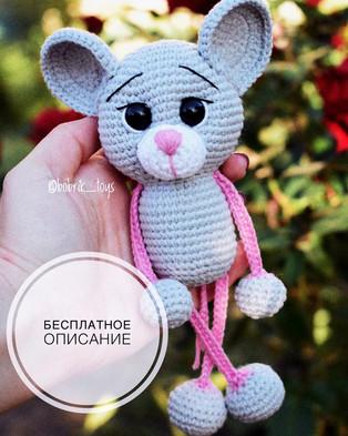 PDF Мышка Погремушка схема вязаной игрушки крючком