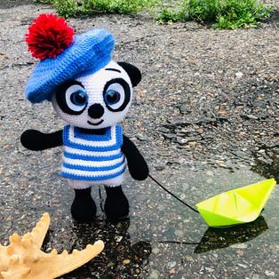 PDF Панда морячок схема вязаной игрушки крючком