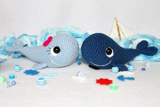 PDF Парочка китов схема вязаной игрушки крючком