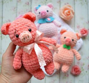 """PDF Поросёнок """"Mini Pig"""" схема вязаной игрушки крючком"""