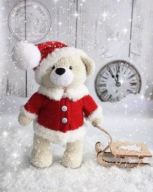 PDF Рождественский Мишка схема вязаной игрушки крючком
